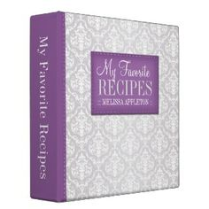 "Purple & Gray Damask 2"" Recipe Binder $29.80"