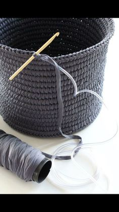 Crochet a basket around plastic tubing for an inconspicuous way of making it more sturdy!