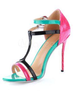 Populaires sandales gladiateur à talons aigus en peau de vache multicolore et motif serpent - Milanoo.com