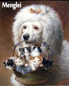 """""""Пудель и котята"""" — Набор для раскрашивания от Menglei купить в интернет-магазине Вышиваю.ру"""