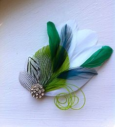 Oh Lucy Handmade SIDNEYFeather Fascinator with Crystal and Pearl Feather Hair Clip Bridal Hair Piece in Lime Teal and Emerald Green with Black and White -- To view further for this item, visit the image link.