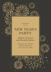 new years eve surrounded by fireworks party invitation card with golden fireworks and matching