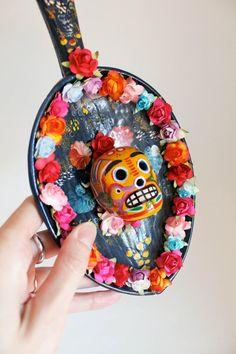 Day of the Dead Wall Folk art Rainbow floral / Dia de los Muertos Mexican Sugar Skull bright multicolored mixed media wall piece