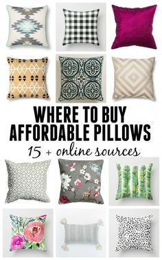 Where to buy affordable throw pillows! 15 online retailers that you may not have thought about! Throw pillows can change a whole room!