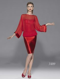 Modelo 3409 | vestido para madrina en rojo | colección primavera-verano 2015 de Teresa Ripoll