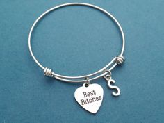 Personalized Letter Initial Best Bitches Heart Bangle by Gliget