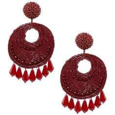 Kenneth Jay Lane Red Seedbead Round Gypsy Hoop With Drops Clip Ear ($100) ❤ liked on Polyvore featuring jewelry, earrings, red, kenneth jay lane, red earrings, red jewellery, gypsy hoop earrings and red jewelry