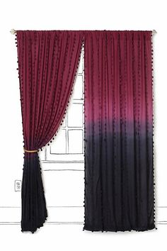 Wavering Ombre Curtains from Anthropologie Dip Dye Curtains, Ombre Curtains, White Curtains, Drapes Curtains, Drapery, Eclectic Curtains, Crochet Curtains, Idee Diy, My New Room