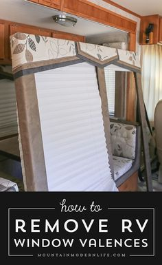 Check out this quick walkthrough on how to remove those hideous RV window valences, in case you want to update or replace them. via @Mountain Modern Life