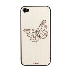 Buttefly Ash carved wood iPhone case