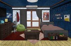 Dorm Design, New Bedroom Design, Bedroom Art, Dorm Room Layouts, Dorm Rooms, Casa Anime, Simple House Design, Dormitory, Aesthetic Bedroom