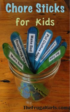 Chore Sticks for Kids! ~ from TheFrugalGirls.com {keep track of the chores for your kiddos with this simple system!} #kids #chores Diy For Kids, Crafts For Kids, Fun Crafts, Chore Sticks, Chore Chart Kids, Chore Charts, Behavior Charts, Parents, Chore Board