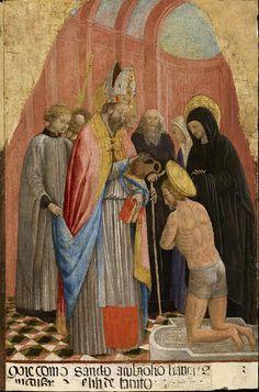 Antonio Vivarini - Sant'Ambrogio battezza Sant'Agostino - 1435-1440 - Accademia Carrara di Bergamo Pinacoteca