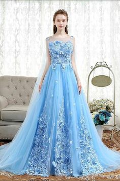 Custom Made Easy Blue Prom Dresses, Blue Lace Applique Tulle Long Prom Dress, Blue Evening Dress Blue Lace Prom Dress, Prom Dresses Blue, Dress Lace, Cinderella Prom Dresses, Women's Dresses, Fashion Dresses, Women's Fashion, Wedding Dresses, Fashion Trends