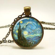 The Starry Night Necklace Vincent van Gogh Pendant by rainnua, $14.45