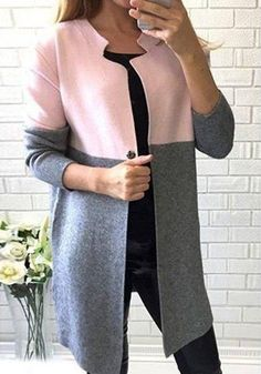 Grey Patchwork Buttons Long Sleeve Streetwear Dacron Trench Coat