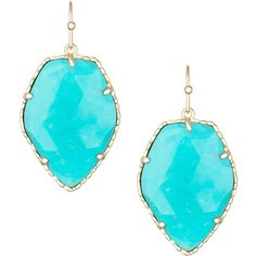 Kendra Scott Corley Earrings found on Polyvore featuring polyvore, fashion, jewelry, earrings, accessories, turquoise, kendra scott earrings, 14 karat gold jewelry, kendra scott and french hook earrings