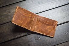 Leather Wallet, Mens Leather Wallet, Cowhide Leather Wallet, Personalized, Traditional Wallet Made from exclusive Horween Derby leather. ► Water resistant chromexcel leather treated with hot-stuffed with tallow and waxes ► Burnished and polished edges ► Sewn by hand with imported Tiger