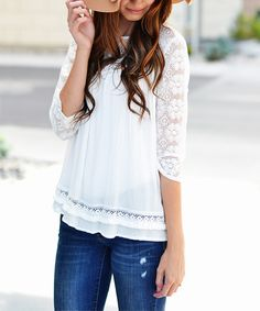 Look at this So Perla White Lace-Sleeve Tunic on #zulily today!