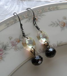 Gatsby Antique Faceted Glass Button Earrings by TimelessTrinkets