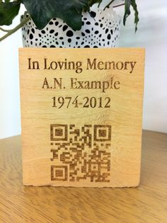 Memorial with a QR link to an online site.