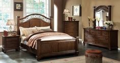 """Sycamore 4Pcs queen Bedroom Set CM7983 for $1181  Description :   Feel the country vibe in this bedroom set! Coarse wood grain gives the bed a pleasant texture that is nice to the touch, while the metal accents on the headboard and mirror adds to its rustic beauty. Finished in antique dark oak. Finish: Transitional Style Metal Accent on H/B Coarse Wood Grain Texture Solid Wood, Wood Veneer, Others Antique Dark Oak Finish Dimensions :  Queen Bed : 89 1/4""""L X 65 1/2""""W X 64 3/4""""H Night Stand…"""