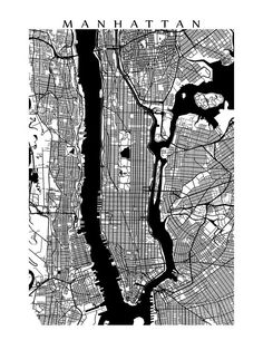 Manhattan Map Print Black and White New York by CartoCreative