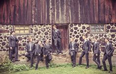Groom & Groomsmen in front of an old barn | Vintage Wedding Photography by www.newvintagemedia.ca