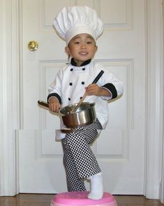 toddler Chef hat, coat, and pants Halloween costume, portrait photograph studio outfit Halloween Costumes For Teens Girls, Toddler Costumes, Sexy Halloween Costumes, Diy Costumes, Adult Costumes, Family Halloween, Costume Ideas, Stitch Dog Costume, Toddler Pumpkin Costume