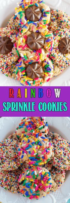 Chewy Rainbow Sprinkle Cookies are so fun and festive, with (or without) a milk chocolate center! A secret ingredient makes them completely irresistible! Best Cookie Recipes, Best Dessert Recipes, Brownie Recipes, Baking Recipes, Sweet Recipes, Bar Recipes, Easy No Bake Desserts, Easy Desserts, Delicious Desserts