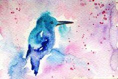 Blue bird in watercolor.