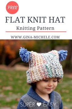 FREE Knitting Pattern for this flat knit hat. PERFECT for knitting newbies!
