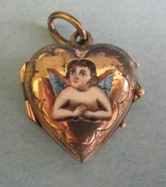 Antique Victorian Gold Enamel Heart Enamel Cherub Charm Locket | eBay
