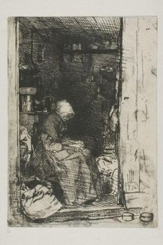 James McNeill Whistler (American, 1834-1903): La Vieille aux Loques, etching, with foul biting, 207 x 147 mm.