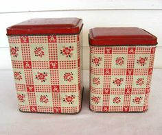 Set of 2 Vintage 1950 Red and White Floral and Check Lithographed Tin Kitchen Storage Canisters w Lids. (cute!)