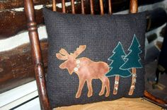 Moose Pillow Lodge Decor Upcycled Wool Moose Pine by Northernlodge, $30.00                                                 there