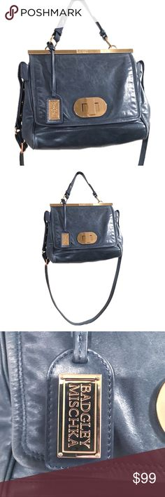 Badgley Mischka Blue Distressed Leather Purse Absolutely beautiful, yet totally utilitarian, this blue distressed leather purse by iconic fashion house Badgley Mischka can do it all! The handbag is in excellent used(?) condition. (All photos are of actual bag for sale.) Badgley Mischka Bags Shoulder Bags