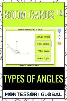 Montessori Geometry -Types of Angles Ideal for distance learning, this PowerPoint Presentation also includes self-correcting Boom Cards and printable 3 part Montessori nomenclature sets that include definition cards. Introduce types of angles in Geometry, online or in the classroom. #montessori #distancelearning #geometry #angles #types #typesofangles #PowerPoint #boomcards #nomenclature #definitions #interactive Types Of Angles, Types Of Lines, Geometry Online, Printable Cards, Printables, Geometry Angles, Browser Chrome, Montessori Math, Definitions