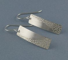 Zen Small Silver Rectangular Earrings
