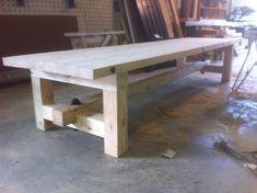 Balkentafel met H-onderstel met details (zonder bezorging,200 cm,100 cm) | houten onderstel | StoereTafels.com, massief eiken tafels en meer