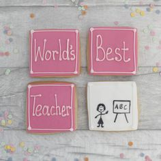 Cookie thank you set for the World's Best (male) teacher! Teacher Thank You, Best Teacher, Thank You Gifts, Teacher Gifts, Vanilla Biscuits, Vanilla Cookies, Chocolate Cookies, Edible Food, Edible Gifts