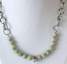 Jade bead necklace light green jade by OneOfOneJewelryDzyns