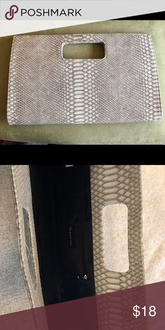 "Giannini large faux snakeskin clutch purse This spacious vanilla and gray clutch is gorgeous for day to night use! It's 9.5"" tall x 15.5"" across at the base of the purse. Versatile and stylish! Bags Clutches & Wristlets"