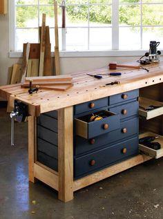 Eigenen Garage Werkstatt einrichten - Werkbank selber bauen