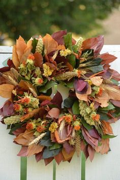 Find your own fall leaves to create your own wreath.