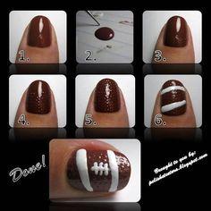 nail art tutorials, nail designs, nail arts, beauti, football season, football nails, footbal nail, polish, bowls