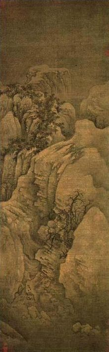 Guo Xi is a representative landscape painter of the Northern Song dynasty, depicting mountains, rivers and forests in winter. This piece shows a scene of deep and serene mountain valley covered with snow and several old trees struggling to survive on precipitous cliffs.
