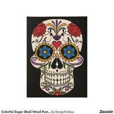 Colorful Sugar Skull Wood Poster
