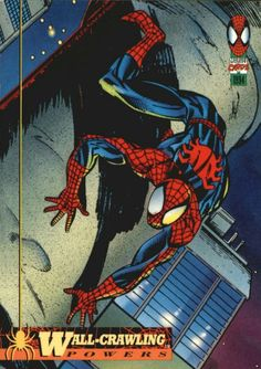 """~ Edition the Amazing Spider-Man (Fleer Card Powers Wall-Crawling ~ The card is in Very Good"""" condition. The card is ship in a Amazing Spiderman, Comic Books Art, Comic Art, Book Art, Spiderman Cards, Mark Bagley, Superhero Villains, Spider Verse, Retro Art"""