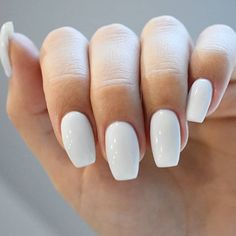 Nail Shapes - My Cool Nail Designs Squoval Acrylic Nails, Simple Acrylic Nails, Acrylic Nail Shapes, White Acrylic Nails, Aycrlic Nails, Best Acrylic Nails, Summer Acrylic Nails, Simple Nails, White Nail